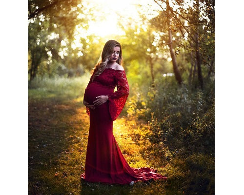 G208,  Wine Os Full Sleeves Maternity Shoot Trail Baby Shower Gown, Size (XS-30 to XL-40)