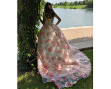 Load image into Gallery viewer, G210 (7), Light Pink Floral Ball Gown with Trail, Size (XS-30 to XXXL-46)
