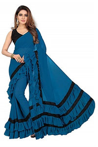 L75, Sky Blue Ruffle Saree, Size (XS-30 to L-38)