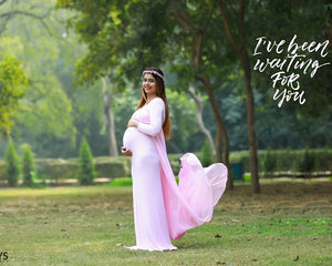 G156 (2),Pink Maternity Shoot Trail Baby Shower Gown, Size (XS-30 to XXL-44),