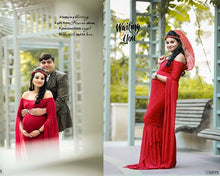 Load image into Gallery viewer, G223, Wine Red Floor Tuch Sleeves Maternity Shoot Trail Baby Shower Gown, Size (XS-30 to XXL-44)