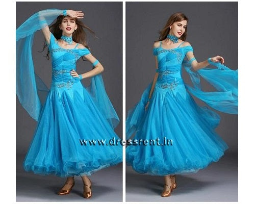 Blue Ankle Length Dress, Size (XS-30 toL-38), 178
