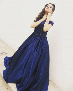 G132 (4), Navy Blue Satin Off Shoulder Trail Ball gown, Size (XS-30 to XL-40)