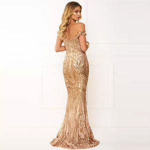 G153, Golden Sequin Mermaid Cocktail Evening Gown, Size (XS-30 to L-36)