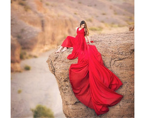 G185, Red Prewedding Shoot Infinity Long Trail Gown Size ( XS-30 To L 38 )