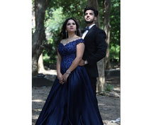 Load image into Gallery viewer, G132 (3), Navy Blue Satin Off Shoulder Trail Ball gown