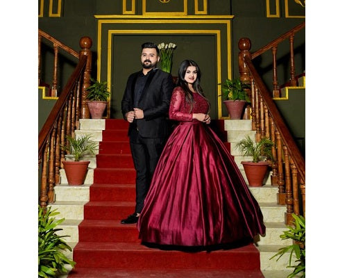 G92 (11), Dark Wine Satin Ball Gown, Size (XS-30 to XXXL-46),