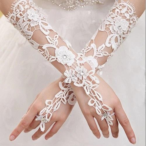 White Long Lace Gloves