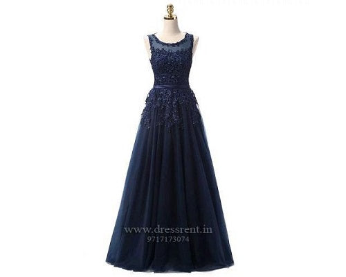 Navy Blue Shimmer Gown (Sleeves available), Size (XS-30 to L-36)