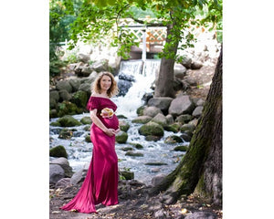 G42, Long Off Shoulder Red Maternity shoot Baby Shower dress, Size (XS-30 to XXL-42)