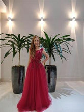 Load image into Gallery viewer, G127, Wine Flower Prom Ball Gown, Size (XS-30 to XL-40)