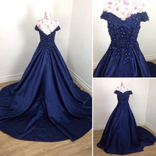 Load image into Gallery viewer, G132 (3), Navy Blue Satin Off Shoulder Trail Ball gown, Size (XS-30 to XL-40)