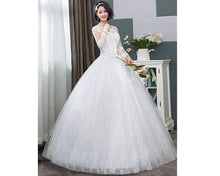 Load image into Gallery viewer, W176, White Long Flair Sleeve Wedding Ball Gown, Size (XS-30 to XL-40)