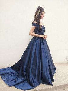 G132 (2), Navy Blue Satin Off Shoulder Trail Ball gown, Size (XS-30 to XL-40)
