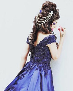 G132 (2), Navy Blue Satin Off Shoulder Trail Ball gown,  Size (XS-30 to XL-40),   G132 (A) Booked from 9/10 to 17/10