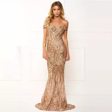 Load image into Gallery viewer, G153, Golden Sequin Mermaid Cocktail Evening Gown, Size (XS-30 to L-36)