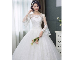 W176, White Long Flair Sleeve Wedding Ball Gown, Size (XS-30 to XL-40)