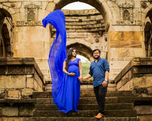 Load image into Gallery viewer, G200 (3), Royal Blue Long Trail Maternity Shoot Baby Shower Gown,  Size - (XS-30 to XXL-44)