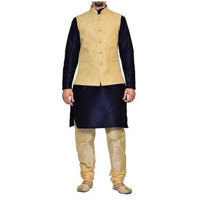 Golden Jacket with Navy Blue Kurta and Gold Payjami, Size (38 to 42)