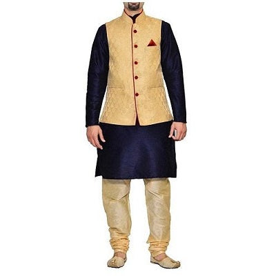 Gold Jacket with Maroon Lining and Navy Blue Kurta Gold Pyjami, Size (38 to 42)