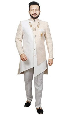 M37 , Rajwadi Style Cream Color Indowestern Men's Dress (40)