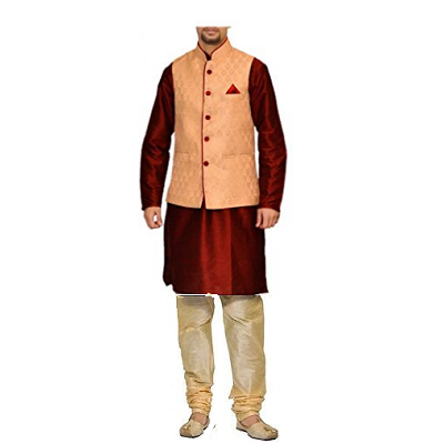 Maroon Kurta Cream Pyjami With Gold Jacket, Size (38 to 42)