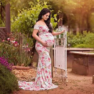 G43, Roses Print Off Shoulders Maternity shoot Long Baby Shower Dress, Size (XS-30 to XXL-42)