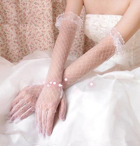 White long Net Gloves