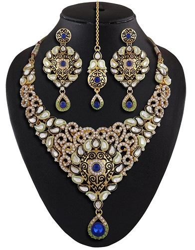 Royal Blue Kundan Meenakari Jewelry Necklace Set With Mangtika