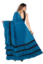 Load image into Gallery viewer, L75, Sky Blue Ruffle Saree, Size (XS-30 to L-38)