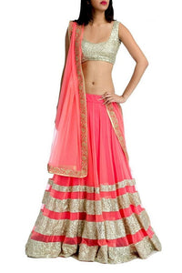 L29, Peach Lehenga, Size (XS-30 to XL-40)
