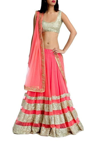 Peach Lehenga, Size (XS-30 to XL-40), L29
