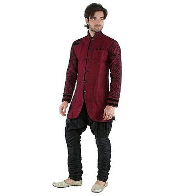 M4, Maroon Black Indowestern, Size (38 to 42)