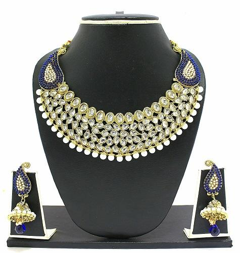 Kundan Set, (Kundan With Blue Beads Gold Plated Necklace Set)