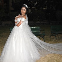 Load image into Gallery viewer, W151, White Off-Shoulder Veil Princess Trail Wedding Gown, Size (XS-30 to XL-40), Booking Status - Available