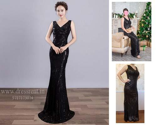 Black Mermaid Shimmer Cocktail Gown, Size (XS-30 to L-36)