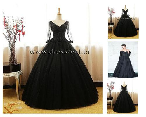 G146, Black Semi Off Shoulder Ball Gown, Size (XS-30 to XL-40)