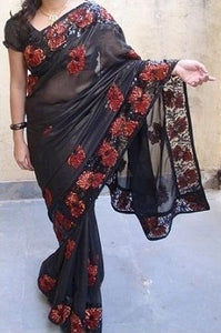 L62, Black Saree, Size (XS-30 to L-38)
