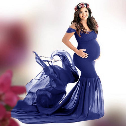 G344, Blue Maternity Shoot Baby Shower Trail Gown, Size (XS-30 to XXL-44)