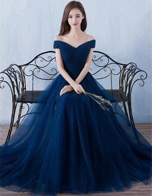 G436, Navy Blue Off Shoulder Evening Gown , Size (XS-30 to L-38)