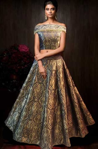 Brocade Crop Top Off Shoulder Lehenga, Size (XS-30 to XL-40)