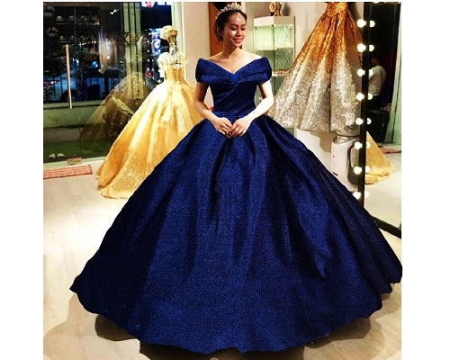 G238, Luxury Navy Blue Sequences Princess Big Ball Gown, Size (XS-30 to L-38)