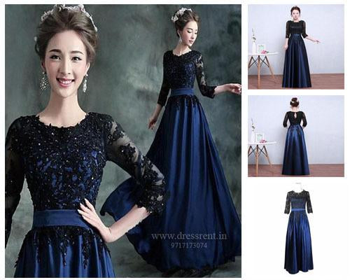 Blue and Black Gown, Size (XS-30 to 4XL-48)