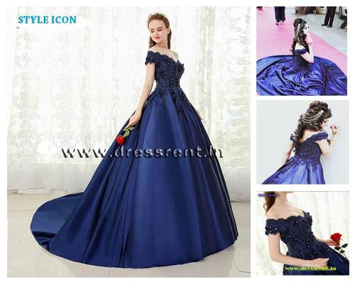 G132, Navy Blue Satin Off Shoulder Trail Ball gown, Size (XS-30 to XL-40)