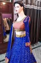 Load image into Gallery viewer, L80, Blue Bandhej Print Lehenga Size (XS-30 to XL-40)