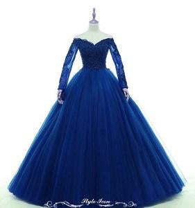 G145, Navy Blue Semi off shoulder Ball  Gown, Size (XS-30 to XL-36)