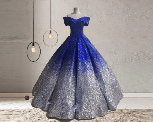 G236, Luxury Blue And Silver Princess Big Ball Gown, Size (XS-30 to L-38)