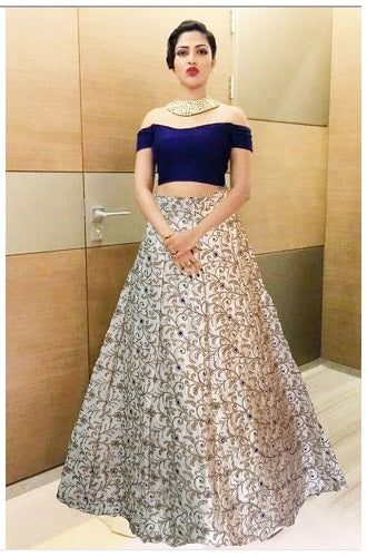 L4, Crop Top Blue Offshoulder Top with Golden Lehenga, Size (XS-30 to L-38)