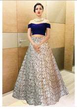 Load image into Gallery viewer, L4, Crop Top Blue Offshoulder Top with Golden Lehenga, Size (XS-30 to L-38)
