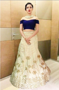 L12, Blue Crop top With Golden Lehenga, Size (XS-30 to L-38)